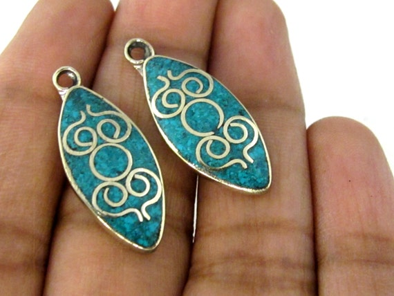 2 pieces  - Tibetan silver drop shape charm pendants with turquoise inlay from Nepal - PM506A