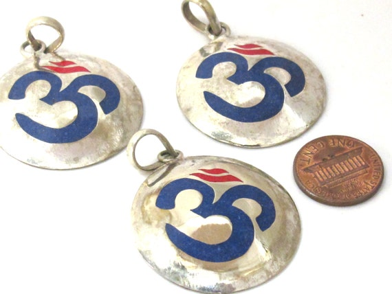 Tibetan pendant Sanskrit Om pendant  with lapis coral inlay - 1 Pendant - Nepalbeadshop supplies - PM497A