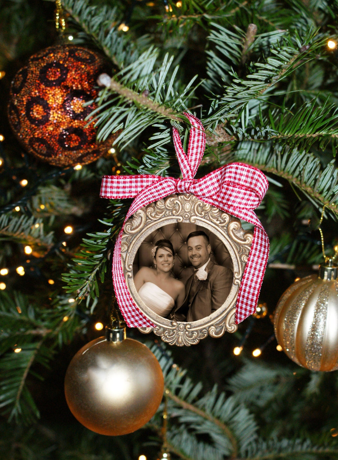 Mr and mrs christmas tree decoration - Sold By Tiffanyleighstudios