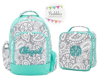 Monogrammed Mint and Gray Paisley Backpack and Lunch Box SET with Free Personalization
