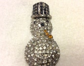 Vintage 1940s rhinestone snowman domed brooch pin. Free ship