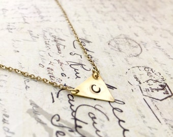 Triangle Necklace, Triangle Charm, Initial Necklace, Hand stamped Necklace, Friendship Necklace, Handmade Jewelry, Bridesmaid Gift