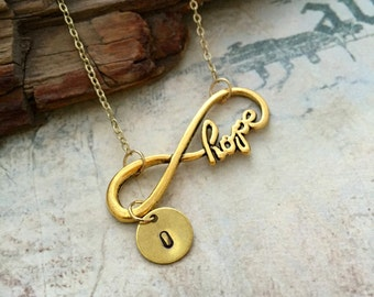 ON SALE - Hope Necklace, Inifinity Necklace, Initial Necklace, Handstamped Necklace, Best Friend Gift, Bridesmaid Gift, Friendship Necklace