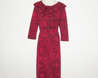 Vintage 1950s Red Dress With Rose Print - Size M