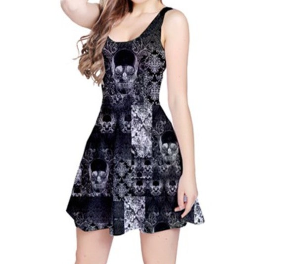 Quilted Skull Patchwork Reversible Sleeveless Dress