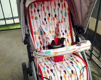 Personalized Reversible Stroller Pad Liner  Chicco Bravo   - - - Made to Order - - -
