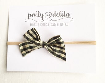 Black gingham bow nylon headband