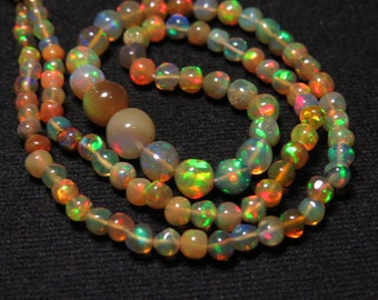 Welo Ethiopian Opal Brown - 14 Inches Quality Smooth Polished Round Ball Beads shape Full Color Full Flashy Fire size - 3 - 6.5 mm approx