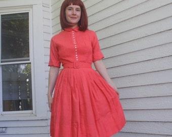 SHOP SALE 50s Cotton Day Dress Vicky Vaughn Pintucked Full Skirt XXS Xs