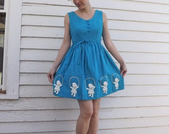 70s Mini Dress Blue Embroidered Jumprope Girl Vintage 1970s Rag Dolls XS