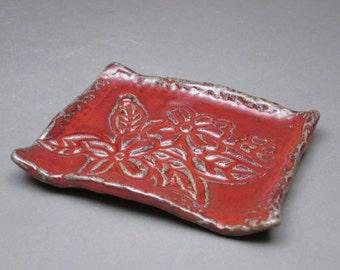 Red Stoneware Soap Dish