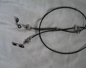 Happy Kitties! Silver Plate, Hematite and Black Seed Bead Eyeglass Lanyard/Chain