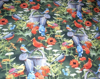 "Fine Feathered Friends - Birds and Flowers -  cotton Fabric -  44"" wide - sold by the yard"