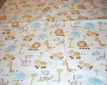 "Safari Animals on off white -  Flannel Fabric  - By the Yard  43"" wide"
