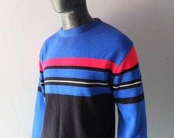 Vintage 80s Ski Sweater - Meister Blue Striped Knit - sz L Aspen Sun Valley Killington Cool - Hagemeister Lert - 1970s 1980s Preppy Sporty