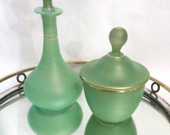 Green Vintage Dresser Set Perfume Bottle Covered Jar Vanity Set Green Glass Vanity Set