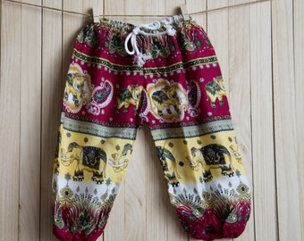 Kid's Red,Yellow  Elephant Printed Cotton Pants /Gypsy Pants/Aladdin Pants/Genie Pants/Yoga Pants /Thai Pants Size-M