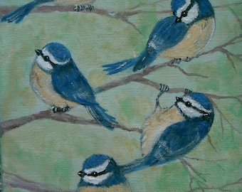 Original Naive Painting NICOLE Little Blue Tit Bird Folk Art