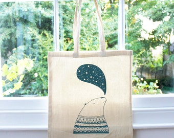 SALE 50% OFF Tote bag - Screen printed - Ursus the astrologer bear