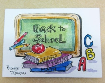 Back to School, ACEO Original Watercolor Painting Art Card by Roxanne Tobaison
