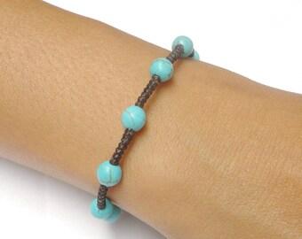 Turquoise BEADED Gemstone Fair Trade Braided Macrame Jewelry Thai Buddhist Wristband Bracelet