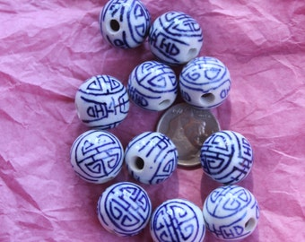 Blue & White Chinese Porcelain Beads Lot of 10