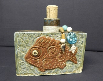 Pottery Beaded Fish Flask A