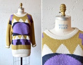 Vintage 1980s ABSTRACT wool pullover