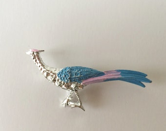 Vintage Gerry's Signed Peacock Brooch Pin, Blue and Silver