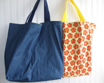 washable denim and orange slice flowers shopping tote bags