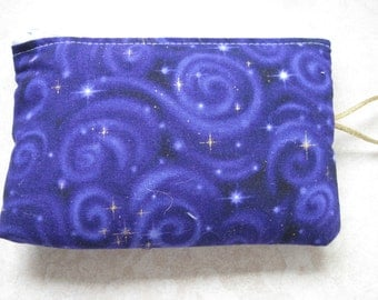 padded makeup jewelry bag in purple celestial print
