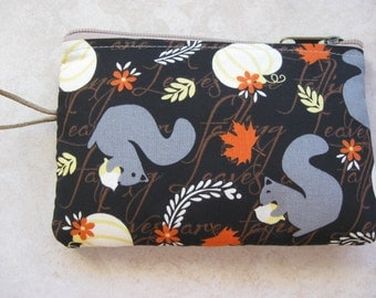 squirrel print fabric padded makeup jewelry bag