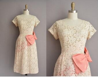 Glen Joan 50s ivory sequin vintage lace wiggle dress / vintage 1950s dress