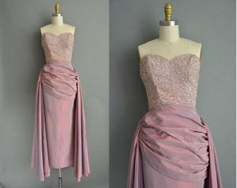 Designer Montaldo 50s lavender strapless vintage party dress / 1950s dress