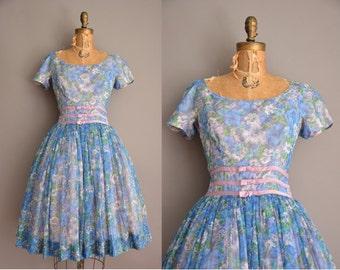 50s Gigi Young floral chiffon full skirt vintage dress / vintage 1950s dress