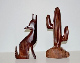Vintage Hand Carved Ironwood Howling Wolf and Desert Cactus SetGift, Collectible,