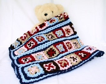 Crochet afghan blue red brown pink burgundy tan navy throw granny square blanket stripes cover bedding home decor motifs couch throw