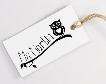 Custom Teacher Name Stamp - Owl Illustration Teacher Rubber Stamp
