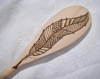 Feather Wooden Spoon Wood Burned Pyrography