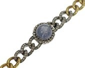Valentines Sales 19th Century star sapphire link bracelet signed Leon Gariod France 18k yellow gold cabochon blue sapphire rose cut diamonds