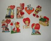 18)  Nine Vintage Used Valentine Cards