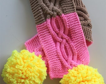 KNITTING PATTERN- The Cable Scarf and Warmer Set (child and adult sizes)
