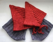RESERVED Listing - Two Red Pixie Hats and Two Bandana Cowls