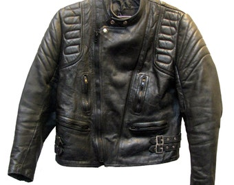 Cafe Racer Motorcycle Jacket Vintage Mens Black Leather Euro Style Double Buckle Biker Jckt Mns US Size 44