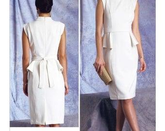 SZ 14/16/18/20/22 - Vogue Dress Pattern V1399 by BADGLEY Mischka - Misses' Side-Peplum Dress and Belt - Vogue American Designer Pattern