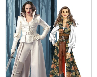 Sz 14/16/18/20/22 - McCall's Costume Pattern M6819 - Misses' Collared Coats, Tops, Corset and Belt - Female Space Traveler/Star Wars Costume