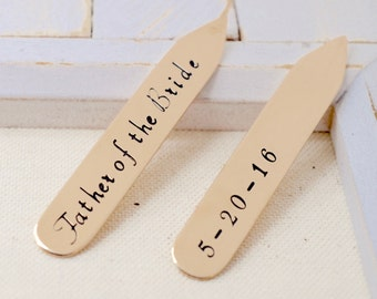 Father of the Bride - Personalized Collar Stays - Wedding Bridal Keepsake - Father's Day Gift for Dad - Gift for Husband - Anniverary Gift