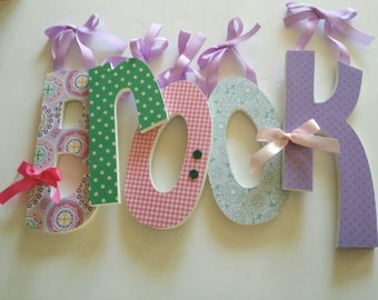 Wooden Letters for Wall in Fun Girly Colors