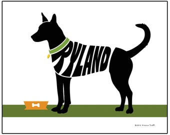 Personalized Carolina Dog Print, Custom American Dingo Wall Art, Archival Ink Dog Name Art Print