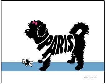 Personalized Shorthaired Maltese Print, Maltese Silhouette Name Art, Dog Lovers Gift, Dog Memorial Gift